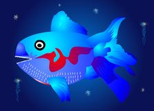 The blue fish in the depths. Composition of predatory blue fish and jellyfish Royalty Free Stock Photo