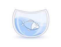 Blue Fish In Glass Aquarium. Illustration Royalty Free Stock Images