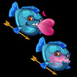Blue fish with gold arrows and pink bubble gum. Heart Stock Image