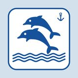 Blue fish icon. Couple dolphin swimming in the sea or ocean. Sign anchor. Vector illustration royalty free illustration