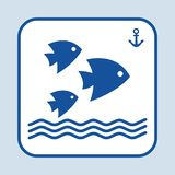 Blue fish icon. Three fishes swimming in the sea or ocean. Sign anchor. Vector illustration royalty free illustration