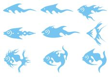 Blue fish icons Royalty Free Stock Photography