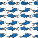 Blue fish pattern white background isolated vector illustration