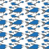 Blue fish pattern on white background stock illustration