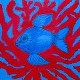 Blue fish and red corals, painting. Painting illustration, acrylic, blue fish and red corals in water Stock Image