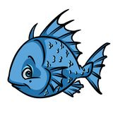 Blue Fish ruff cartoon Royalty Free Stock Image