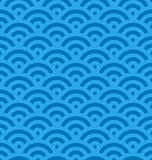 Blue fish scale background of concentric circles. Abstract seamless pattern looks like sea waves. Vector illustration Royalty Free Stock Photography
