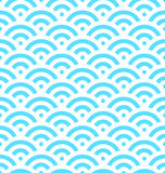 Blue fish scale background of concentric circles. Abstract seamless pattern looks like sea waves. Vector illustration Stock Photography