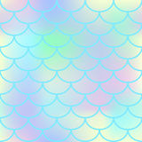 Blue fish scale  seamless pattern. Square fishscale swatch texture or background. Pale yellow pink gradient mesh. Mermaid pattern or decor element. Fish skin Royalty Free Stock Photo