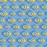 Blue fish seamless pattern Royalty Free Stock Images