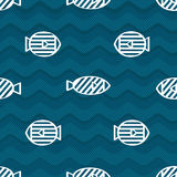 Blue fish seamless pattern. (eps 10  file Stock Images