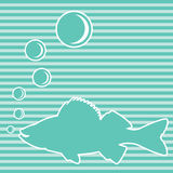 Blue fish. The silhouette of a fish blowing bubbles depicting air breathing Royalty Free Stock Images