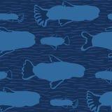 Blue Fish Silhouette, Seamless Seaweed Animal Vector Pattern Background stock illustration