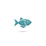 Blue fish stylized web icon Royalty Free Stock Images