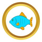 Blue fish vector icon, cartoon style. Blue fish vector icon in golden circle, cartoon style isolated on white background Royalty Free Stock Photos