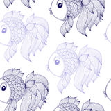 Blue fish on white background vector seamless pattern. Blue fish on a white background vector seamless pattern Stock Image
