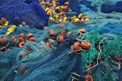 Blue fisher net at the fisher harbor in Togo stock images