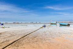Blue fisherman boats Stock Images