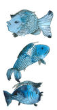 Blue Fishes. Watercolor painting and ink drawing, created and painted by the photographer stock illustration