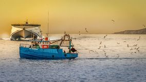 Blue Fishing Boat Royalty Free Stock Photography