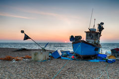 Blue Fishing Boat on a beach in Suffolk Royalty Free Stock Image