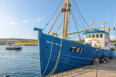Blue fishing boat in the port Royalty Free Stock Photo