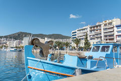 blue fishing boat in a sea port of Kavala,Greece Royalty Free Stock Photography