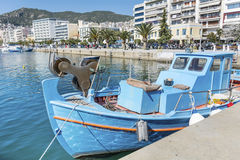 Blue fishing boat in a sea port of Kavala,Greece Royalty Free Stock Images