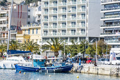 Blue fishing boat in a sea port of Kavala,Greece Royalty Free Stock Image