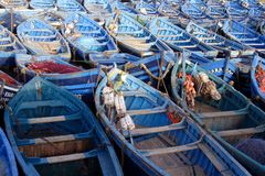 Blue fishing boats Stock Image