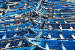 Blue Fishing boats. In harbour Essaouira north Atlantic Morocco North Africa Royalty Free Stock Photo