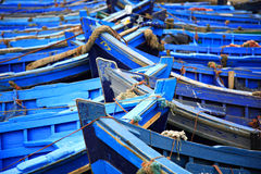 Blue fishing boats. Essaouira harbour Morocco Stock Images