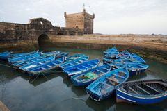 Blue Fishing Boats. Fishing blue boats in Essaouira old port. Morocco Royalty Free Stock Image