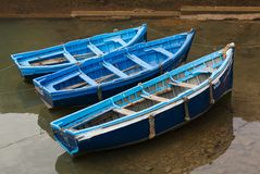 Blue Fishing Boats. Fishing blue boats in Essaouira old port. Morocco Stock Images