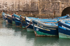 Blue fishing boats in a dock. In essaouira marina Royalty Free Stock Photography