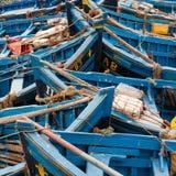 Blue fishing boats. In essaouira marina Stock Photo