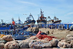Blue fishing boats Royalty Free Stock Images