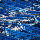 Blue fishing boats in Essaouira, Morocco, Africa Stock Images