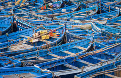 Blue fishing boats in Essaouira, Morocco, Africa Stock Photo