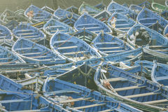Blue fishing boats in Essaouira, Morocco, Africa Stock Photography