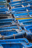 Blue fishing boats in Essaouira, Morocco, Africa Royalty Free Stock Photos