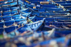 Blue fishing boats in Essaouira, Morocco, Africa Royalty Free Stock Photography