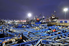 Blue fishing boats Stock Photo