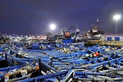Blue fishing boats Stock Photo