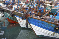 Blue fishing boats Royalty Free Stock Image