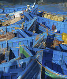 Blue fishing boats. In Essaouira port, Atlantic coast, Morocco, Africa Royalty Free Stock Images