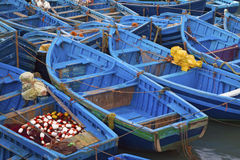Blue fishing boats. In Essaouira port, Atlantic coast, Morocco, Africa Stock Images