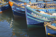 Blue fishing boats. In Essaouira port, Atlantic coast, Morocco, Africa Royalty Free Stock Photo