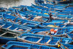 Blue fishing boats in harbor Essaouira Morocco Royalty Free Stock Photos