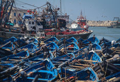 Blue fishing boats Stock Photography